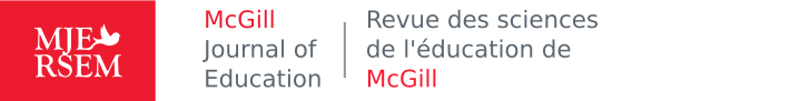McGill Journal of Education / Revue des sciences de l'éducation de McGill